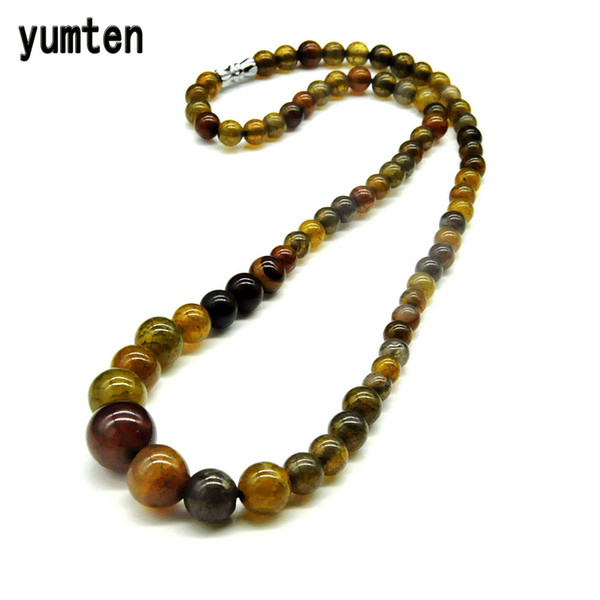 Yumten Amber Green Nature 6mm-14mm Round Agate Beads Crystal Stones Women Necklace Best Friend Gifts New Fashion Drop Shipping Y1892805