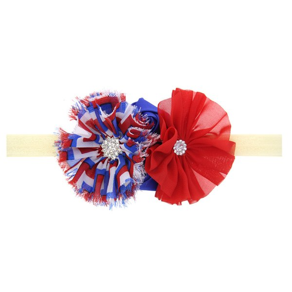 12Pcs American Independence Day Baby Girls Rhinestone Flower Headband Elastic Headbands Kids Hair Accessories Beautiful HuiLin DW110