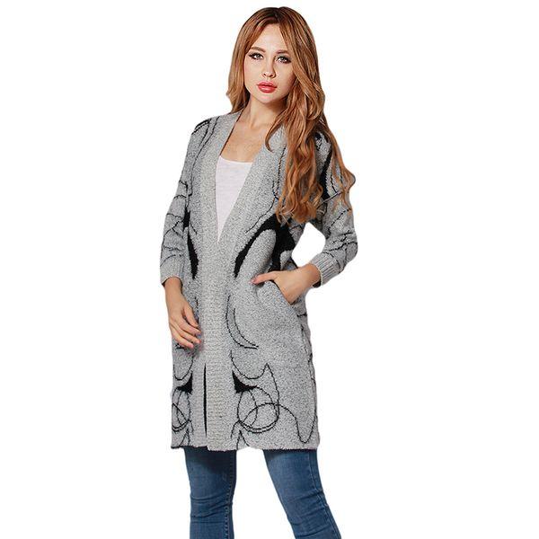 Fashion Thicken Long High Street Ladies Knitted Sweater Girl Print Cardigans Elegant Women Sweater Autumn,Winter