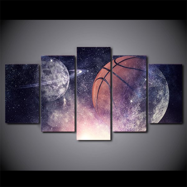 HD Printed 5 Pieces Canvas Art Painting Playing Basketball Poster Starry Sky Wall Pictures for Home Decor Free Shipping CU-2995C