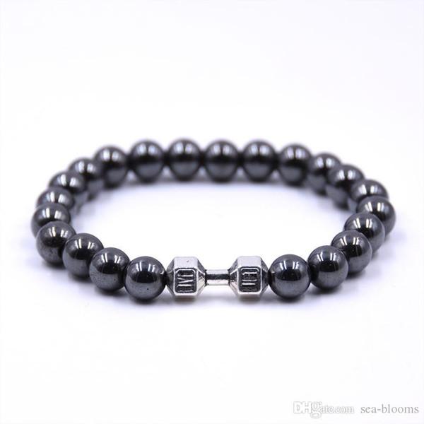 8mm charme armband für männer frauen heilende energie perlen stretch magnetische hämatit lava rock chakra schwarz armbänder freies dhl g120s a