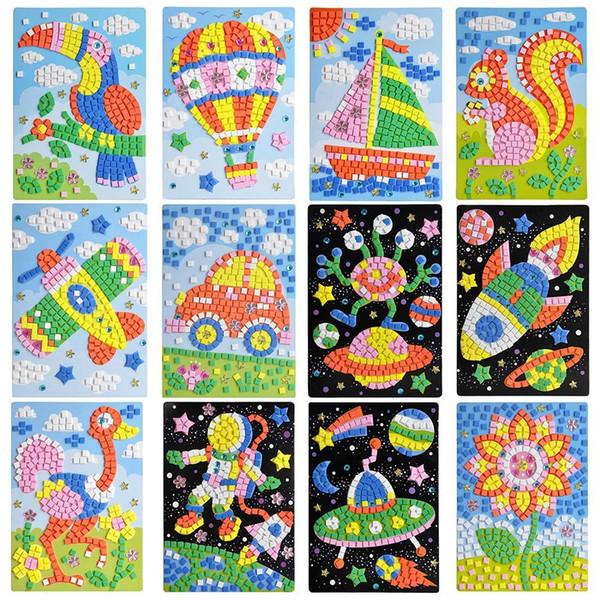 top popular 30 Pcs Wholesale Children Exquisite EVA Handmade Crystal Diamond And Paper Sticker Paste Painting Mosaic 3D Puzzle Toys For Kids 2021