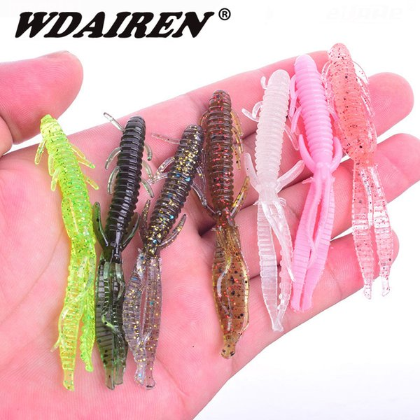 5pcs/lot 7.2cm 1.8g Shrimp smell jig soft Fishing Lure Attractive Fish Crab Fishing Bass Soft Bait iscas pesca para WD-394 Y18100906