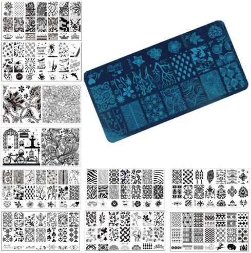 Wholesale Nail Art Stamp Stamping Image Plate 6*12cm Stainless Steel Nail Template Manicure Stencil Tools 20 Styles For Choose