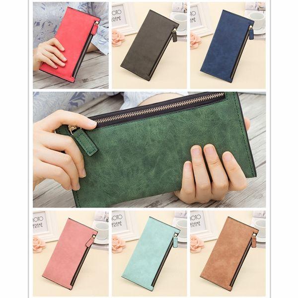 2018 Simple Designer Zipper Women Leather Slim Wallet Female Purse Clutch Thin Wristlet Phone Credit Card Holder Dollar