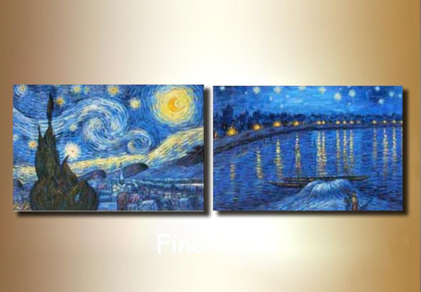 handmade artist oil painting reproduction Starry Night by Van gogh wholesale big oil painting discount room decor wall decoration painting