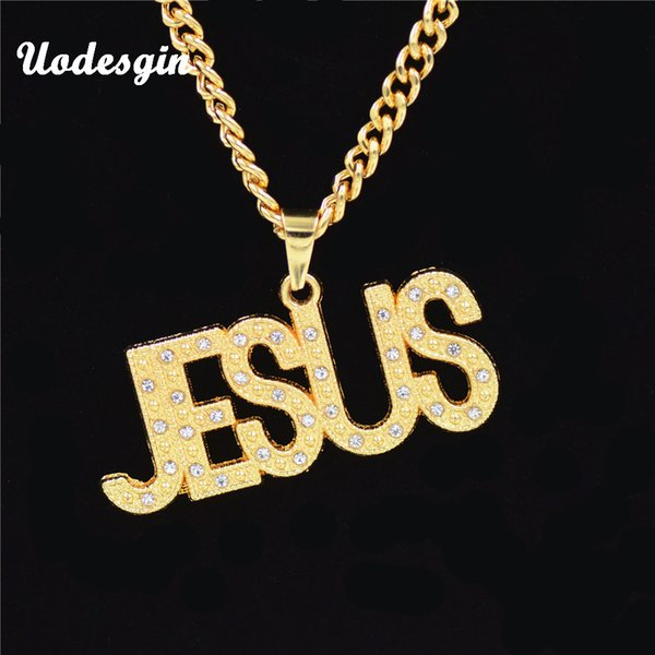 Uodesign 2018 Gold Platted Bling Letter JESUS Pendants Hip Hop Long Chain Necklace