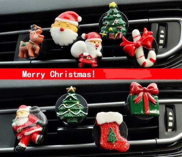 Christmas Car Air Freshener Cute Cartoon Perfume Clip Auto Outlet Scent Diffuser Aroma Smell Air Purifier