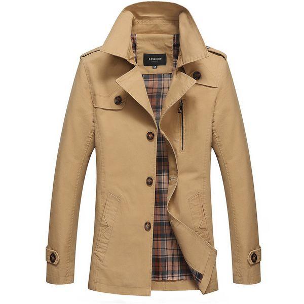 Trench coat homens longo steampunk sobretudo plus size 2018 outono inverno novo jaqueta Spot casual slim cotton blusão amarelo exército