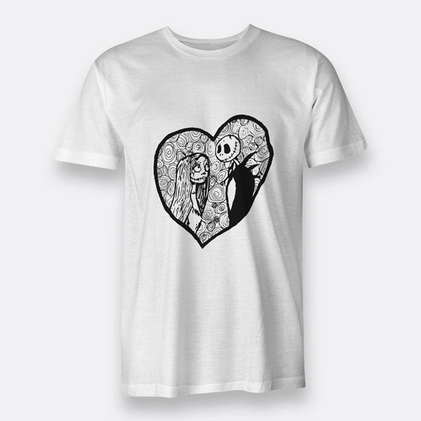 1e3290bee51b The Nightmare Before Christmas Jack & Sally S-3XL Tees White Mens Cotton T-