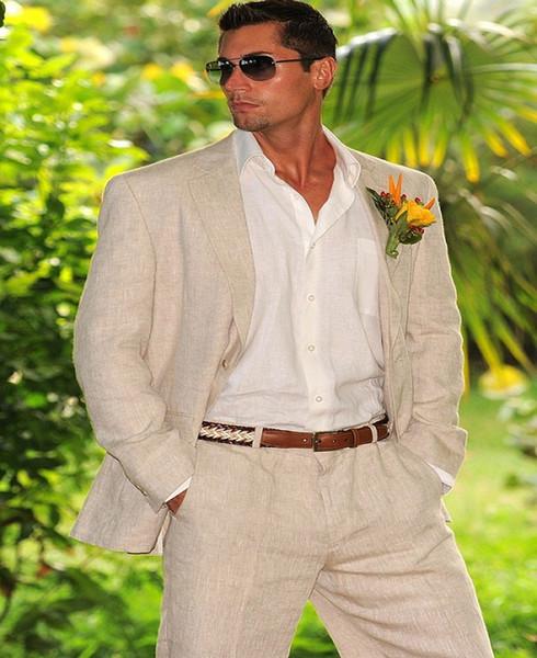 Hohe Qualität Beige Groomsman Anzug Nach Maß Mann Anzug 2Psc Leinen Bräutigam Smoking Sommer Anzüge Strand Anzüge für Hochzeit kleidung