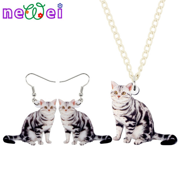 NEWEI Acrylic Sweet Cat Kitten Earrings Necklace Chain Collar Cheap Fashion Cute Animal Jewelry Sets For Women Girls Gift Charms