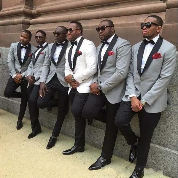 One button slim fit groom tuxedo 4 pieces( Jacket+Pants+handkerchief+ bow) men Tuxedos Black lapel best suits Custom Made Groomsmen suits