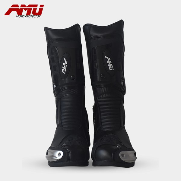 AMU NEW Motorcycle Motor Sports Protective Boot Motocross Dirt biker Cross-country Water Proof Leather Boots Shoes