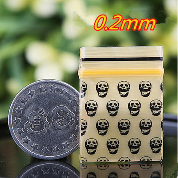 400pcs skull printing small size Self Sealing Zip Lock Bags jewelry Mini pouches Plastic Packaging bags