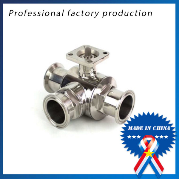 best selling 3 4 inch Sanitary Stainless Steel High Platform 3 Way Ball Valve Quick Connect Quick with Bracket
