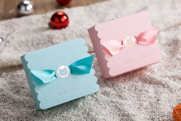 Baby Shower Candy Favors Box blau rosa kreative Partydekorationen Baby Boy Bonbons Taschen Hochzeit Weihnachten Geburtstag Kinder Geschenkpapier