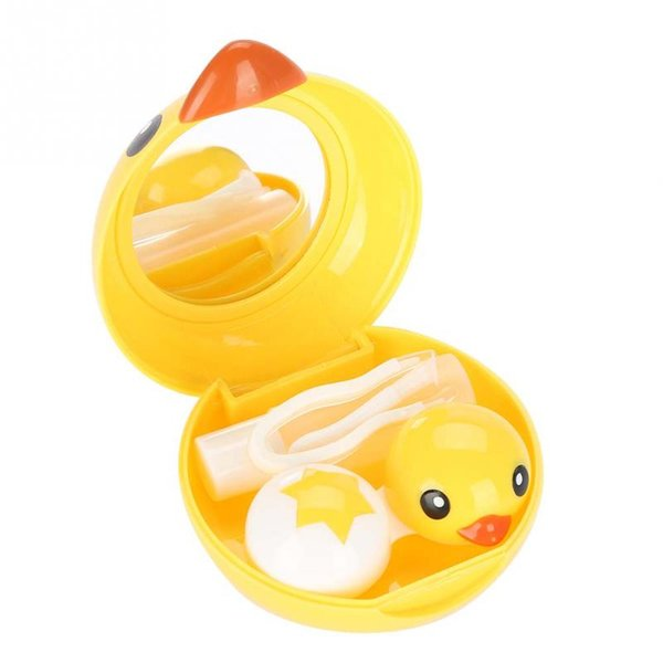 Eye Makeup Tools Kit Eyewear Accessories Cute Mini Cartoon Duck Contact Lens Holder Eye Care Lenses Container Case Mirror Box
