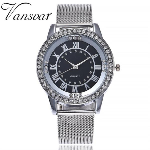 Vansvar moda casual de luxo mulheres relógios banda de aço inoxidável relógio de relógio de pulso de quartzo relógio de pulso dropshipping dropshipping