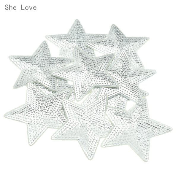 iron on She Love 10pcs Silver Star Sequins Iron on Applique Embroidered Patches Sew Fabric Clothes Badge DIY Apparel Accessories