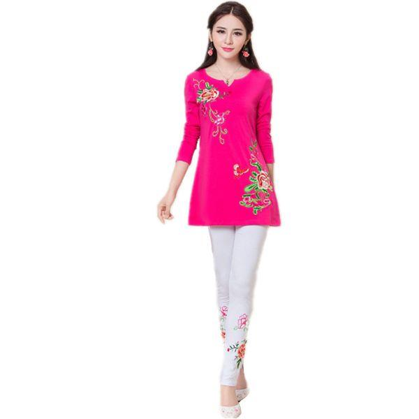 2017 T Shirt Pants 2 Piece Set Women Spring Summer Cotton Quality Embroidery 4XL Vintage Ladies Tracksuit Clothes Woman Suits