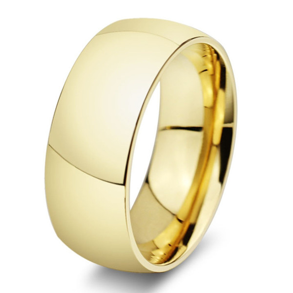 Classic wide 8mm men wedding gold rings Real 18K Gold filled 316L Titanium finger rings for men NEVER FADING USA size 6-14 a51*20