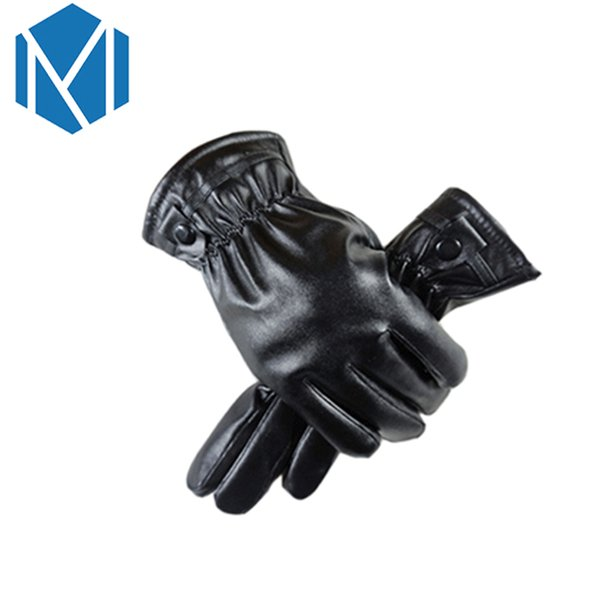 Winter Warm Covered Finger Halter Gloves For Women Men PU Leather Screen Wrist Mittens Outdoor Windproof Gloves Style Randomly