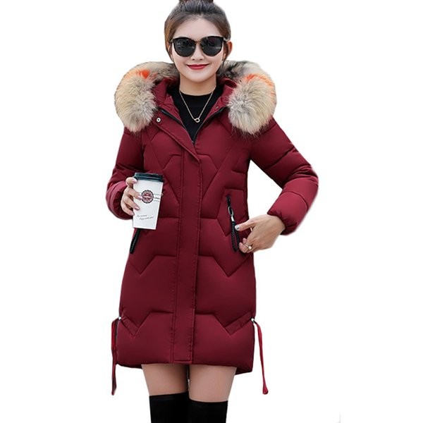 2018 Winter Women Jacket Thick Warm Hooded Slim Down Cotton Parkas Fur Collar Padded Outwear Coats Long Clothing Plus Size 3XL Y18110501
