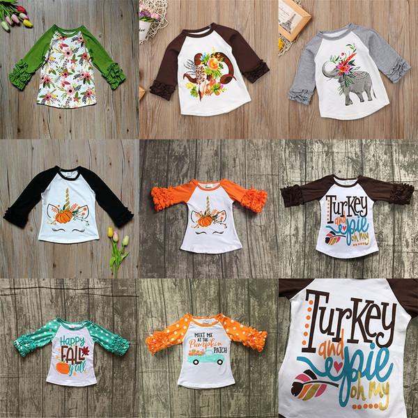 top popular Thanksgiving Baby girls boy Flower unicorn print T-shirts 2018 autumn Ruffle Long sleeve shirt Tops cotton children Tees kids Clothing C5033 2020