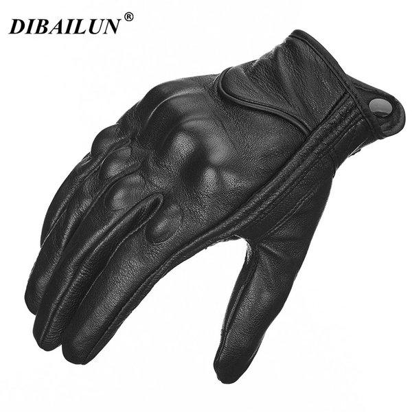 2018 Retro Perforated Leather Motorcycle Gloves Cycling Moto Motorbike Protective Gears Motocross Glove winter man