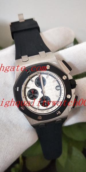 Top Haute Qualité Offshore 44mm 26401RO.OO.A002CA.01 N8 Usine Cadran Blanc VK Quartz Chronographe Workin Montres Hommes
