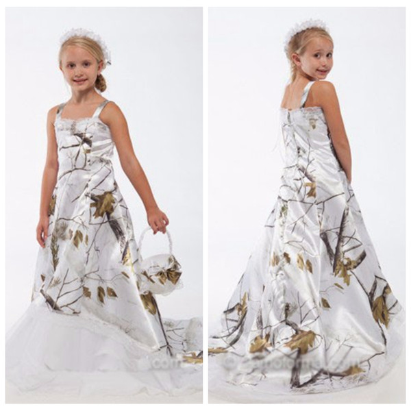 Beautiful White Real Tree Camo Lace Flower Girl Dresses Custom Online Toddler Kids Formal Wedding Wear Camouflage Satin Birthday Party Gowns