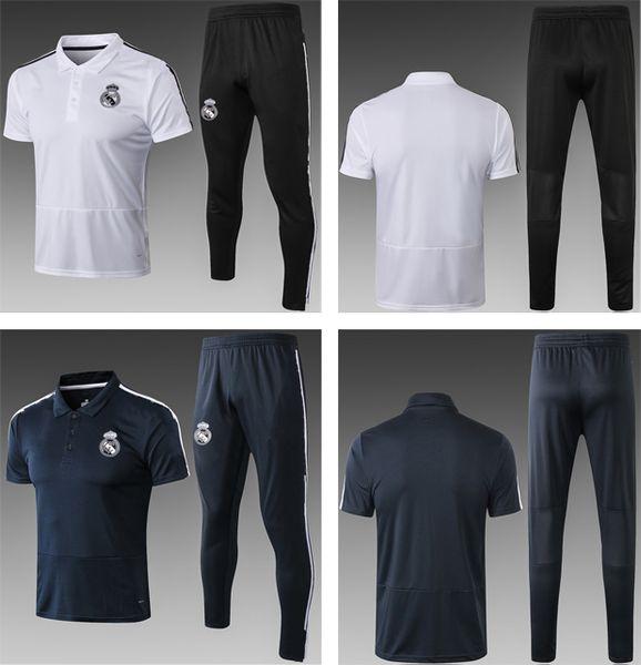 2018 Real Madrid Trainings-Sets für Erwachsene Fußball-Poloshirts 18 19 Kurze Fußball-Trainingsanzüge für Männer mit langen Ärmeln wärmen Trainingsanzüge