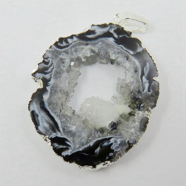 Al por mayor-BOROSA brasileño Agates Geode Druzy Slice - Electrochapado color plata con bordes ágata Slice Drusy Druzy colgante