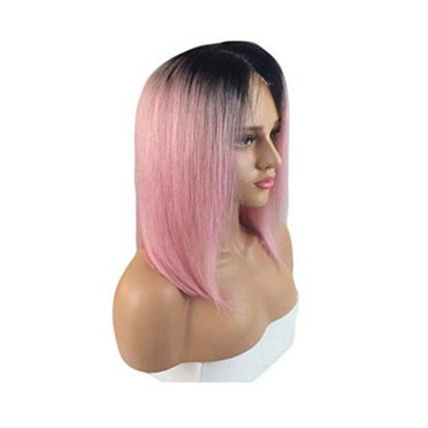 1b pink dark root Vrigin human hair ombre bob full lace wig and lace front wig 1b pink silky straight Free shipping