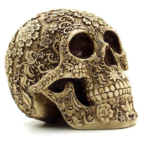 Halloween Home Bar Table Grade Décoratif Artisanat Crâne Humain Masque De Résine Cluster Fleur Humaine Squelette Crâne Décoration Avec Boîte