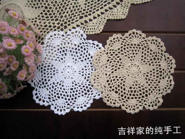 Wholesale-Free shipping 12pic/lot 20cm round cotton crochet lace doilies fabric felt as innovative item for dinning table pad coasters mat