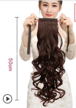 Wig ponytail female long and short paragraph big wave roll ponytail braided strap natural realistic highlights direct hair piece 50cm