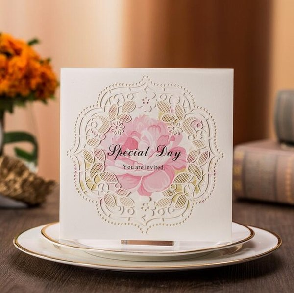 White Square Laser Cut Wedding Invitations Cards With Hollow Flora Engagement Invitation Anniversary Party Cx013 Free Birthday Greeting Cards Free