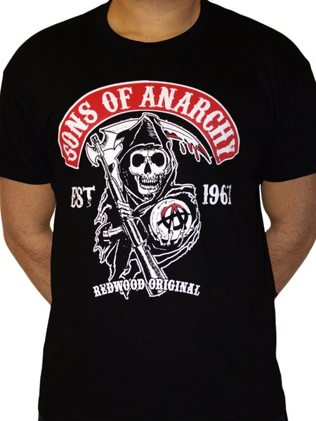 Sons of Anarchy Redwood Original Reaper Official TV series Black Mens T-shirt Hip Hop Style Tops Men Classic Casual Summer T-shirt Tops