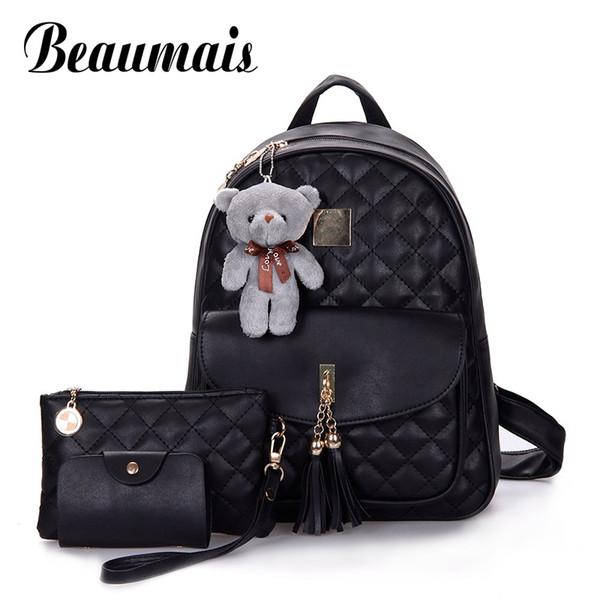 Beaumais 3 Pcs Bear Backpack Women Bag Diamond Lattice School Bags For Girls Backpacks For Women New Tassel Shoulder Bags DF0235