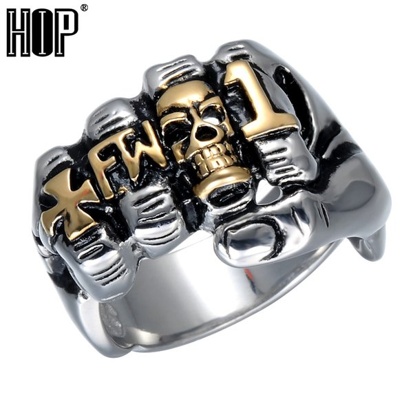 Hip Hop Cool Fist Finger Biker Ring Punk Gothic Gold Silver Titanium Stainless Steel Unique Skull Rings for Men Jewelry