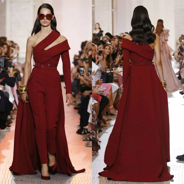 2019 Elie Saab Prom Dresses One Shoulder Long Sleeve Women Jumpsuit With Detachable Train Evening Gowns Custom Made