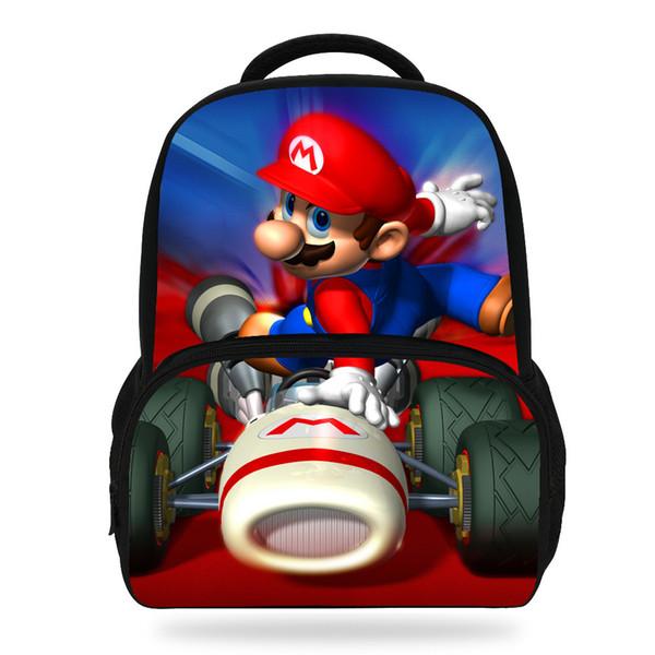 14inch Hot Sale Children Printing Bag Cartoon Super Mario Backpack For Kids School Boys Girls Teenagers Y18100705