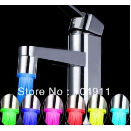 5pcs No need battery Automatic Temperature Sensor 7 Color Change Glow Shower LED Light Water Faucet Tap wholesale Dropshipping