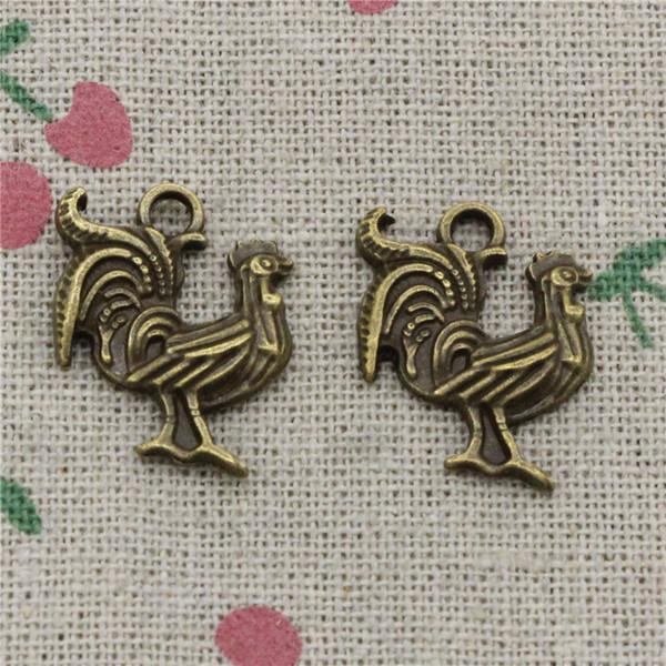 71 stücke Charms hahn hahn 22 * 18mm Antike Bronze Vintage Anhänger Für Schmuck Machen DIY Armband Halskette