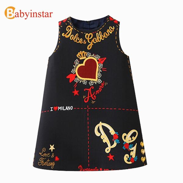 Babyinstar 2018 New Arrive Girls Princess Dress Sleeveless Cute Graffiti Pattern Children Fashion Clothing Kids Party Dress Y1892113