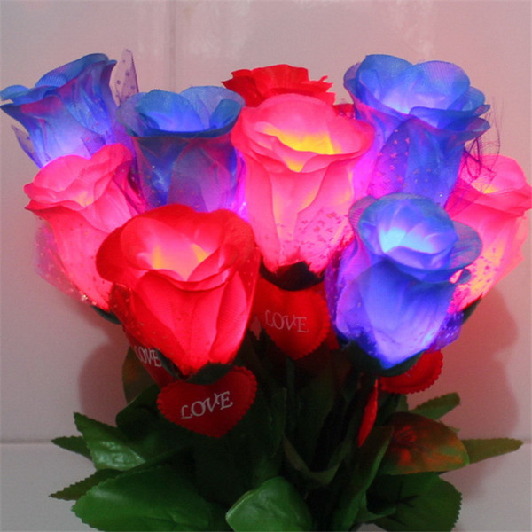 top popular Romantic LED Light Up Rose Flower LED Valentine's Day Mothers Day Gift Birthday Party Supplies Wedding Decoration H351 2019