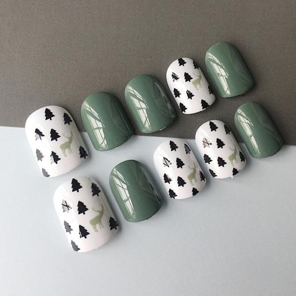 Fashion green 24 pcs/set Cute pattern design short size finished false nail,full Nails tips,lady finger art tool