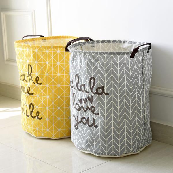30pcs/lot Portable Cotton Linen Storage Barrel Laundry Basket Folding Dirty Cloth Storage Baskets Household Sundries Organizer 40*50cm